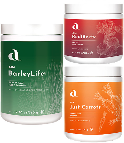 Garden Trio - BarleyLife, RediBeets, Just Carrots - Juicing made easy !