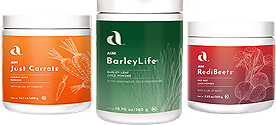 Garden Trio - BarleyLife, Just Carrots, RediBeets. The quickest way of feed our body cells high quality whole nutrition. Powder. Save money by purchasing as a trio.