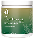 Powerful Green Nutrition with Barley Leaf juice concentrate, kale leaf powder, arugula leaf powder, Swiss chard leaf powder, broccoli sprout powder, natural citrus flavor.